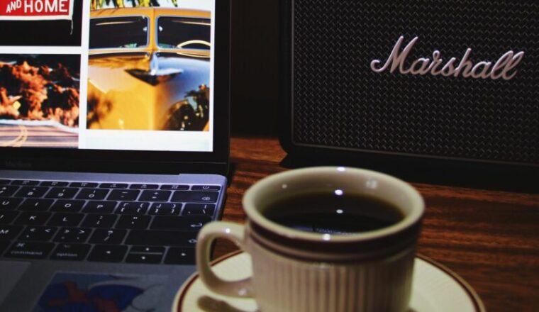 image of computer with coffee